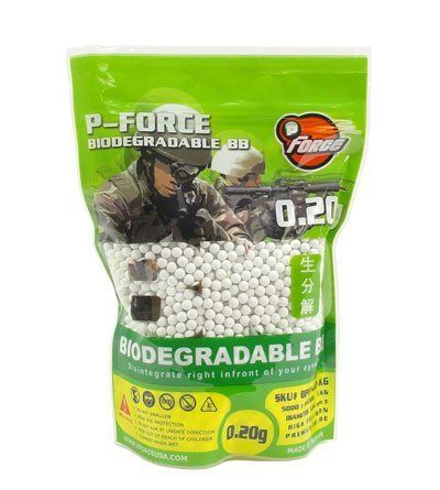 5000 White P-Force Biodegradable .20g Airsoft BBs by World Tech Arms. $22.50. Out of ammo and need to get back into the action? Looking for precision BBs for your high powered Airsoft Gun that are eco-friendly? Well look no further, introducing the P-Force Biodegradable White 5000 Rd .20g BBs. Heavier than your typical .12g BBs you'll get increased accuracy with your high powered rifle or pistol. Although you get better range on the lighter BBs they tend to fly off down ra...