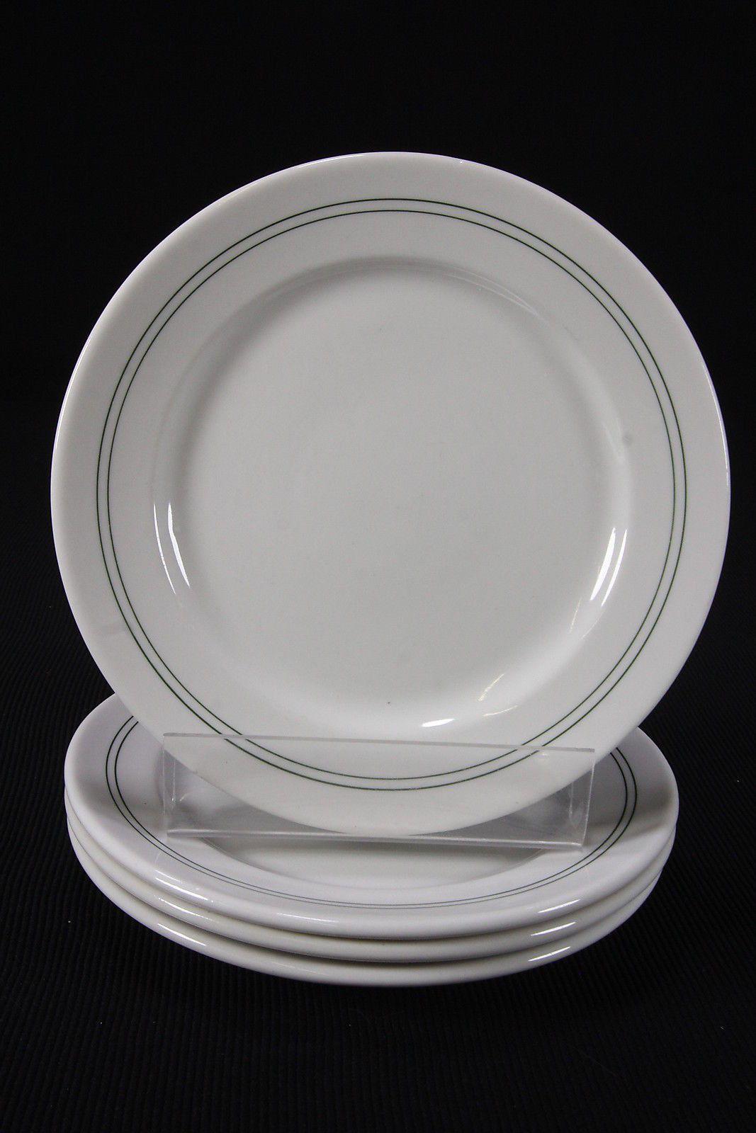 4 Syracuse China Vtg Plates 8 7/8  Dbl Green Bands On White Restaurant & 4 Syracuse China Vtg Plates 8 7/8