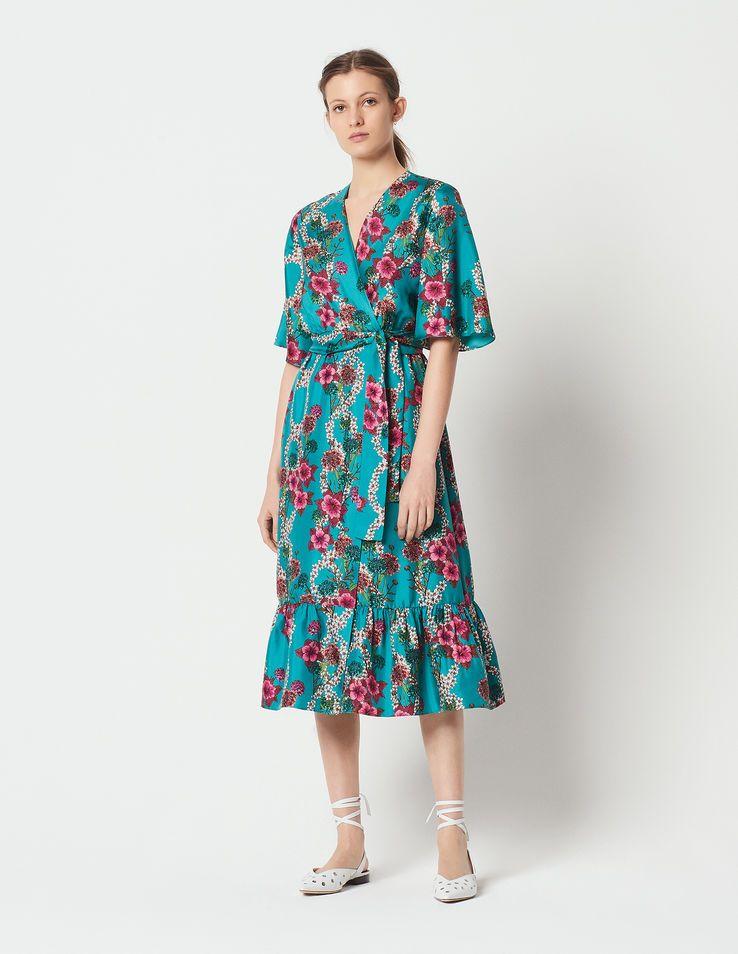 37fd333f7b Silk kimono dress with floral print   Dresses color Turquoise Blue ...