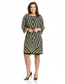 b9dab0f362c Calvin-Klein-Plus-Size-Three-Quarter-Sleeve-Printed-Shift-Dress-For-Women