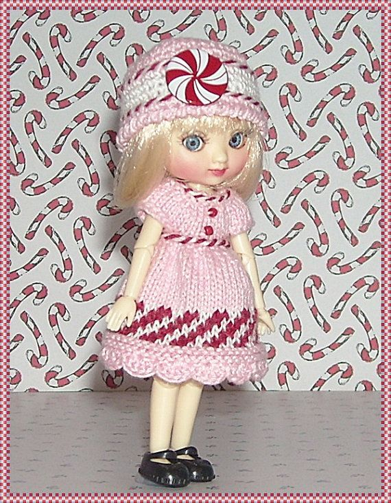 Amelia Thimble Dolls Pink Peppermint Dress and by JCsTinyTreasures
