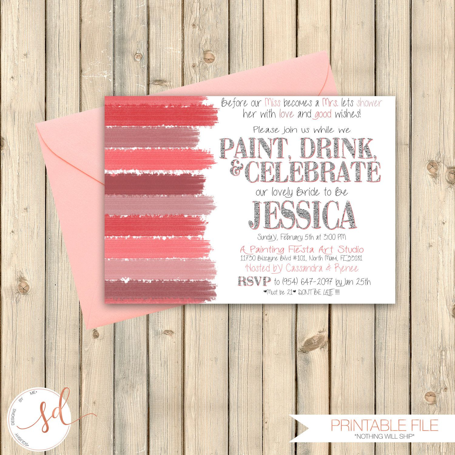 Art Party Bridal Shower Invitation, Paint and Sip Party