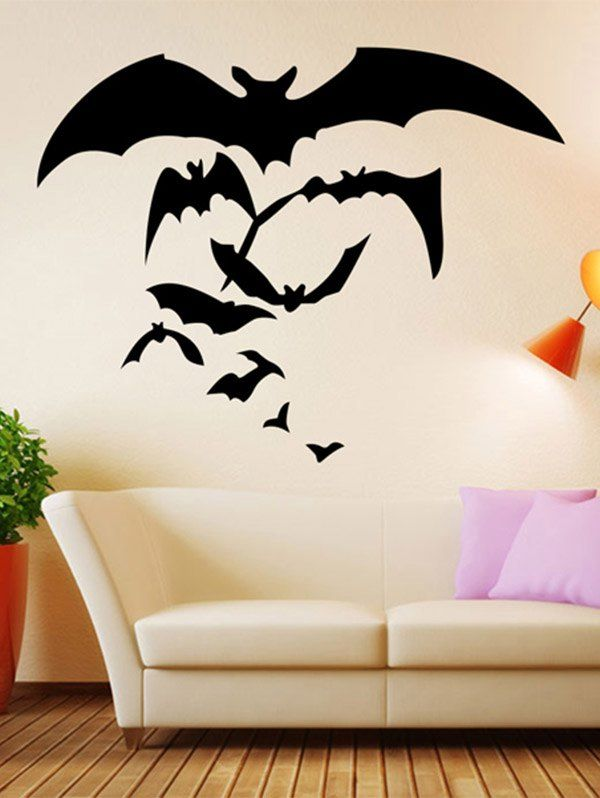 Removable Waterproof Bat Pattern Wall Sticker Black