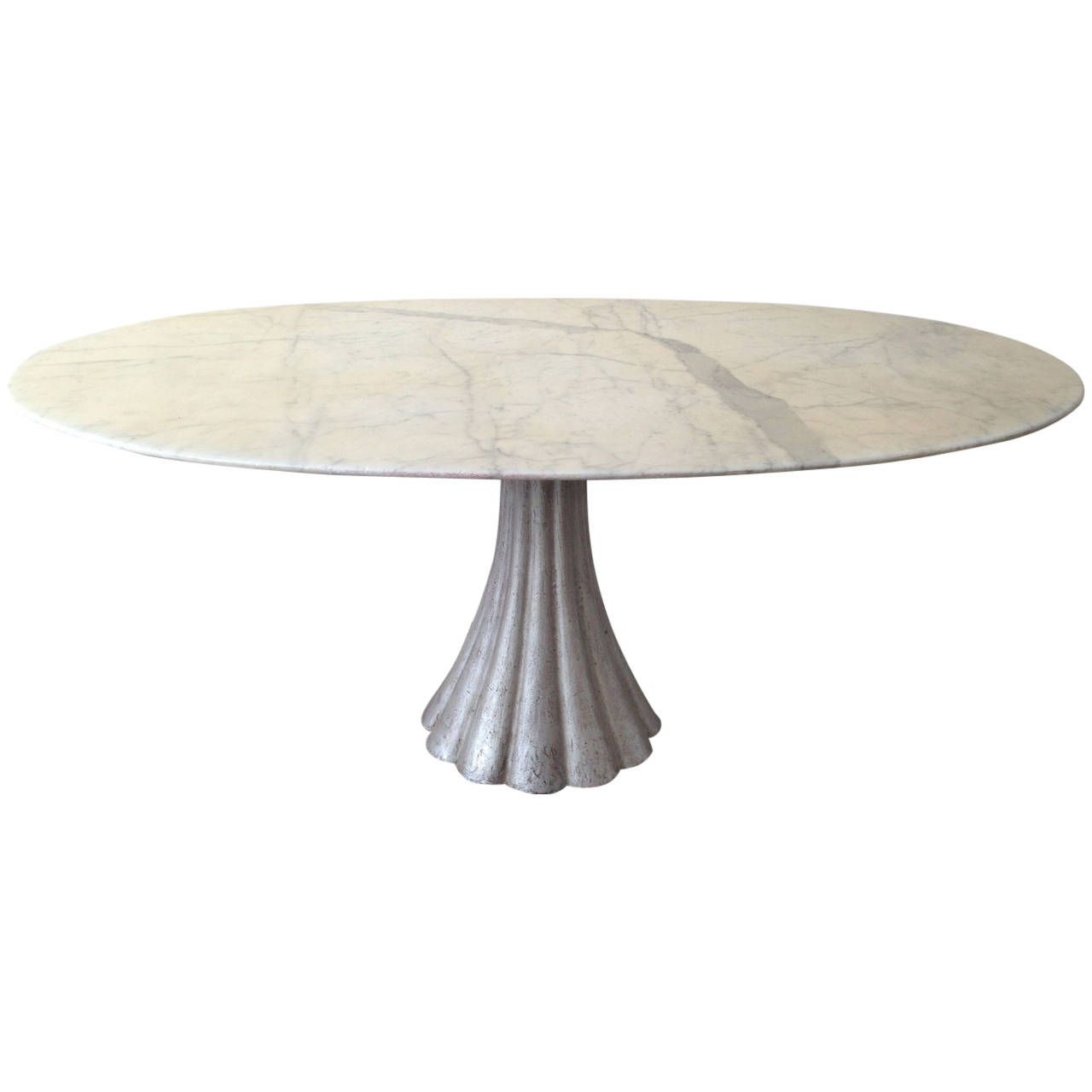 Oval Marble Dining Table In The Manner Of Angelo Mangiarotti