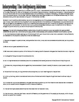 Gettysburg Address Analysis Worksheet Common Core With Images