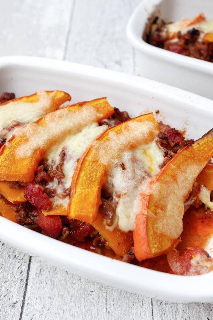 Low Carb Kürbisauflauf mit Hackfleisch und Mozzarella #pumpkinrecipes