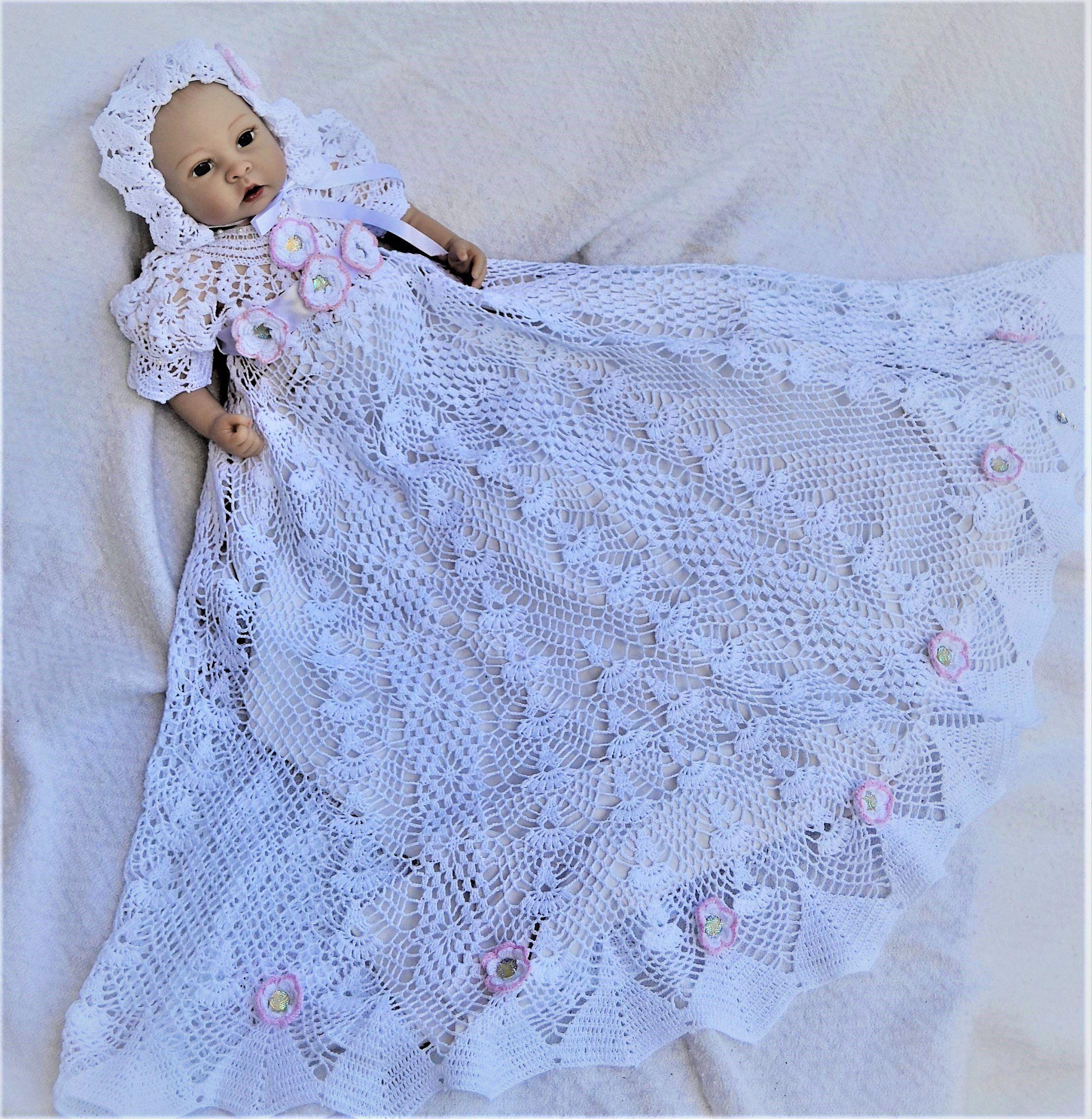 Hchv Hand Crochet Baby Lacy Christening Gown Crochet Baby