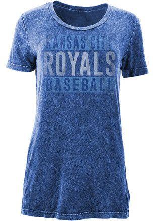 KC Royals Womens Blue Washed T-Shirt