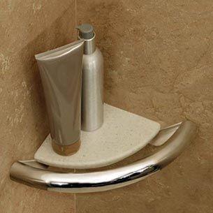 Corner Shelf ADA Compliant Grab Bar Hidden Accessibility - Installation of grab bars for bathrooms for bathroom decor ideas