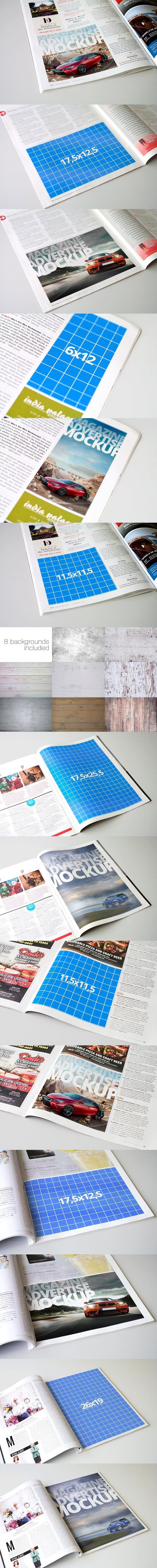 Magazine Advert Mockups. Photoshop Textures
