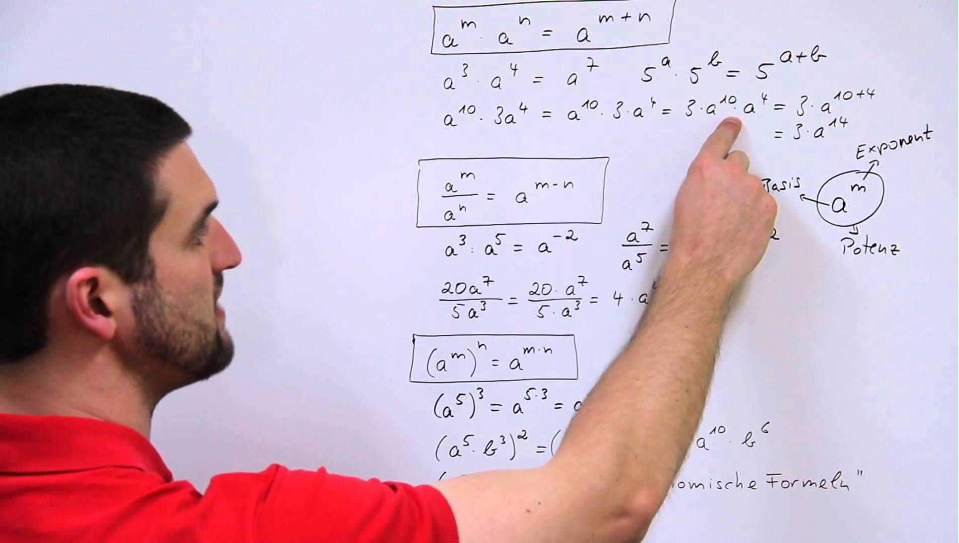 Potenzgesetze, Potenzen multiplizieren, dividieren, potenzieren ...