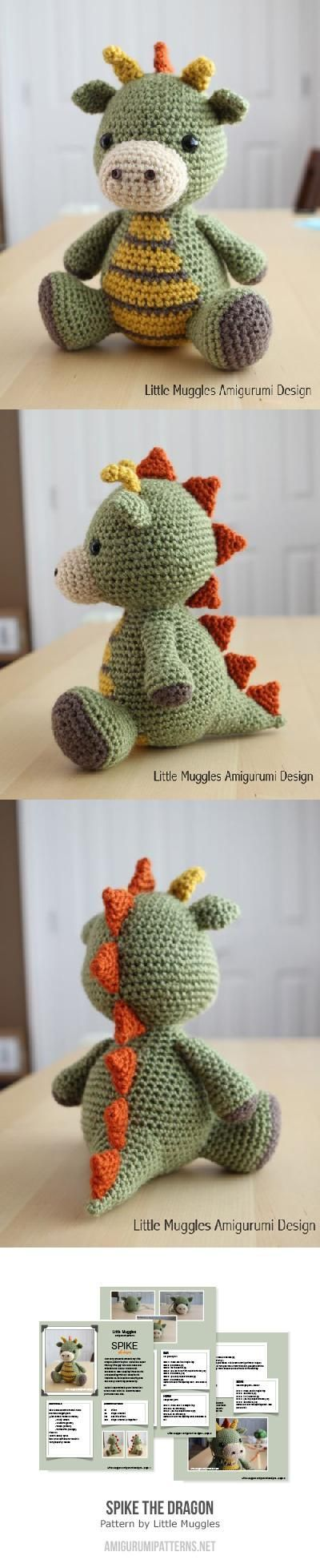 Spike the Dragon amigurumi pattern by Little Muggles | Dragones ...