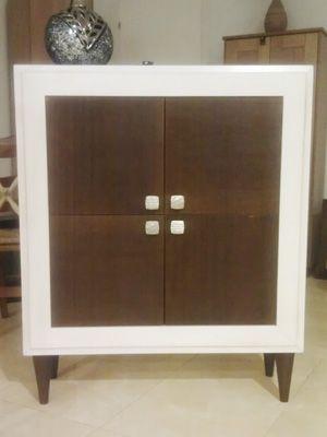 consola de entrada en blanco roto y roble nogal   muebles ...