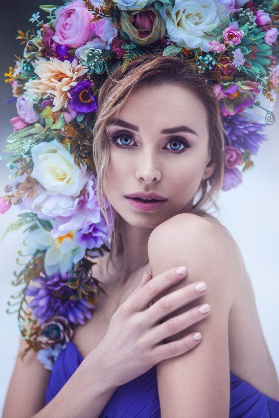 Huge floral crown richly decorated headpiece with purple pink flowers