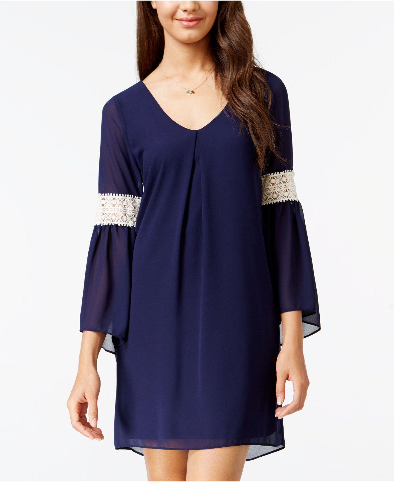 d19b8cbfc57 BCX Juniors  Lace-Trim Bell-Sleeve Shift Dress - Juniors Dresses - Macy s