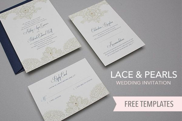 Free Wedding Invitation Template Lace \ Pearls Free Printable - creating an invitation in word