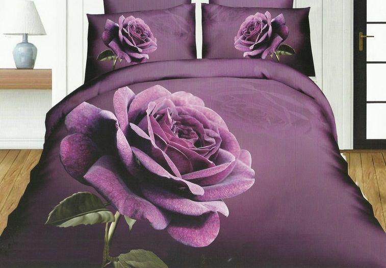 Pościel Do Sypialni W Kolorze Fioletowym Z Różą Pościel W
