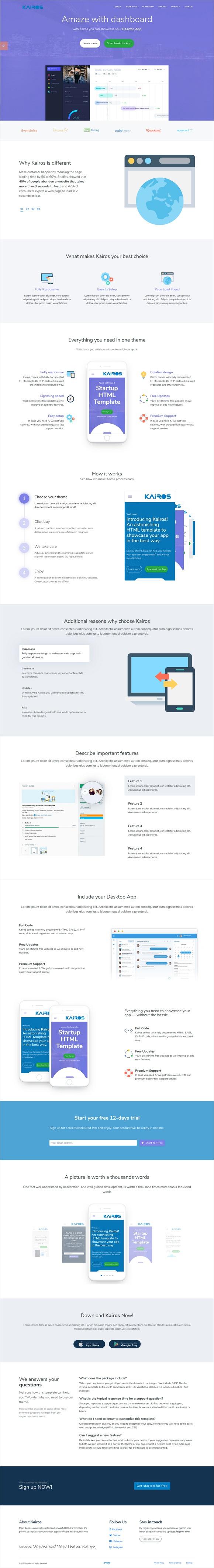 Kairos - App, Startup & Software HTML Template | Startups, Software ...