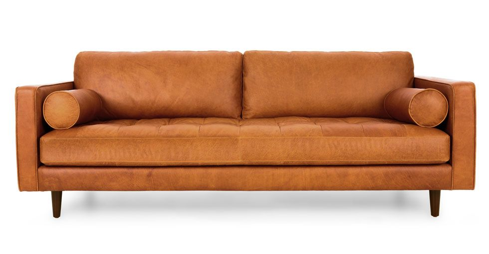 tan leather tufted ottoman round article timpani modern furniture sofa with chaise living room ideas couch for sale melbourne