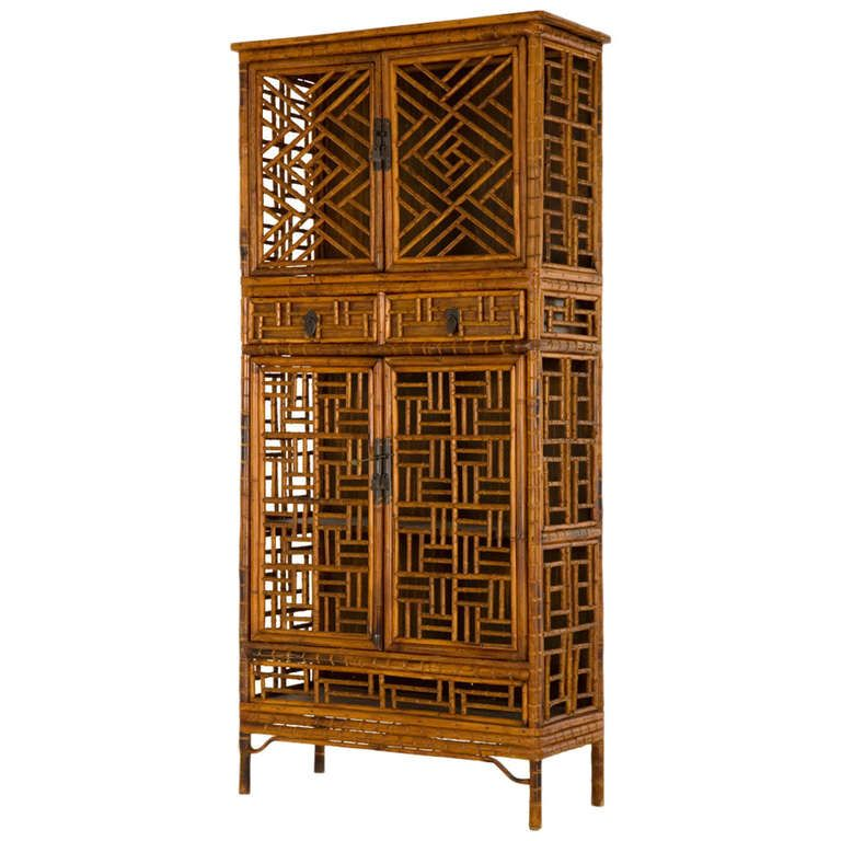 Vintage Fretwork Bamboo Cabinet Bamboo Cabinets Bamboo Furniture Bamboo Furniture Design