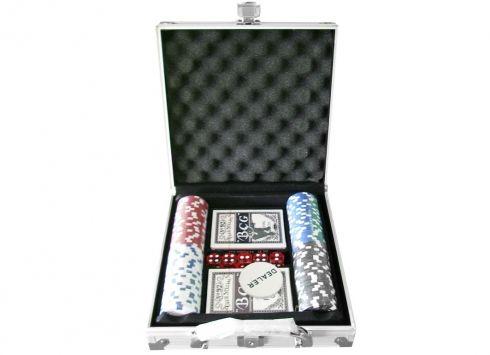 VALIGETTA 100 FICHES ALLUMINIO. Valigetta 24 ore in alluminio con all'interno 2 mazzi di carte da poker e 100 fiches
