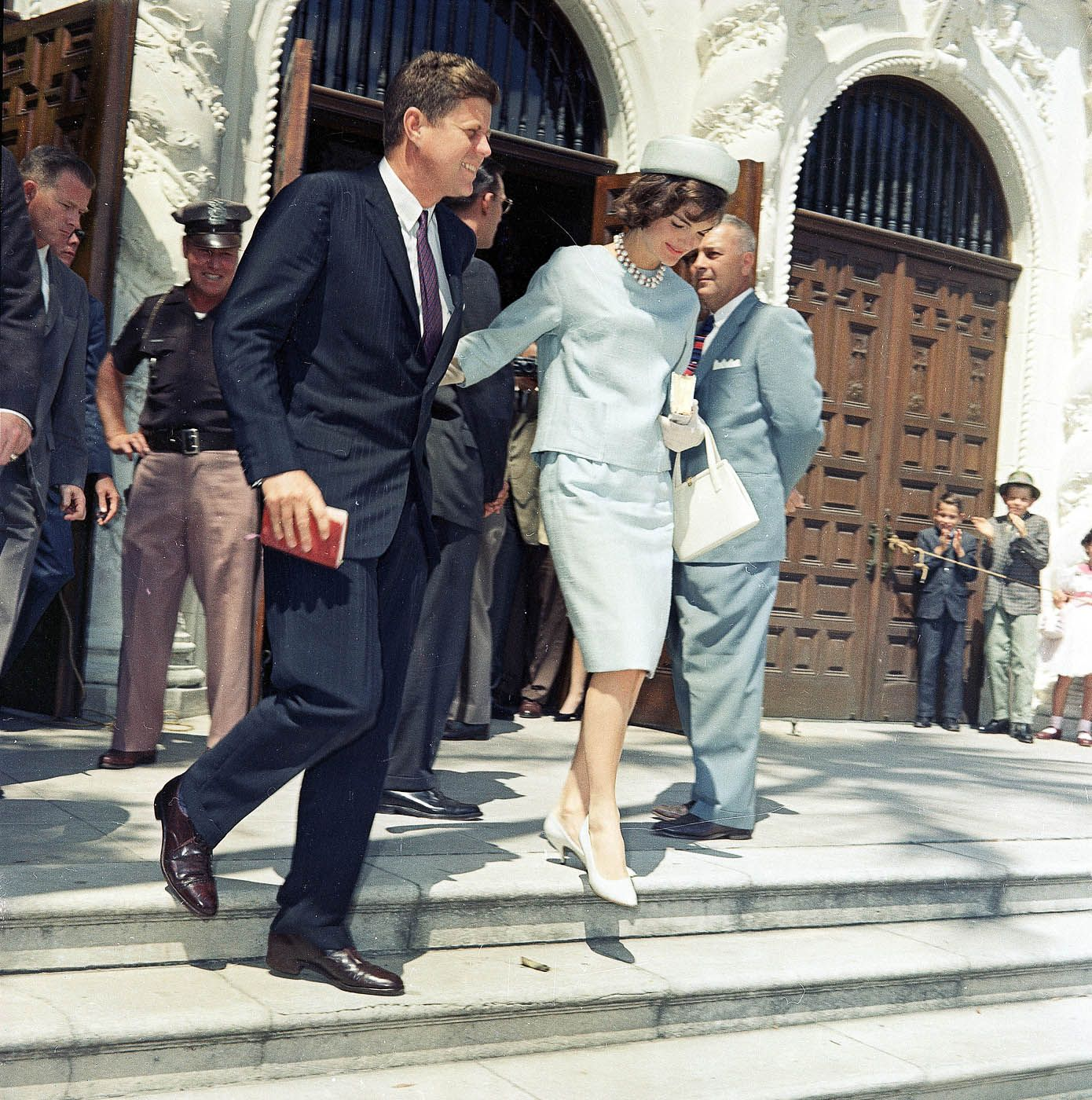 U S President John F Kennedy And His Wife Jacqueline Are Seen Leaving Church After Easter Services At St Edwards Catholic In Palm Beach