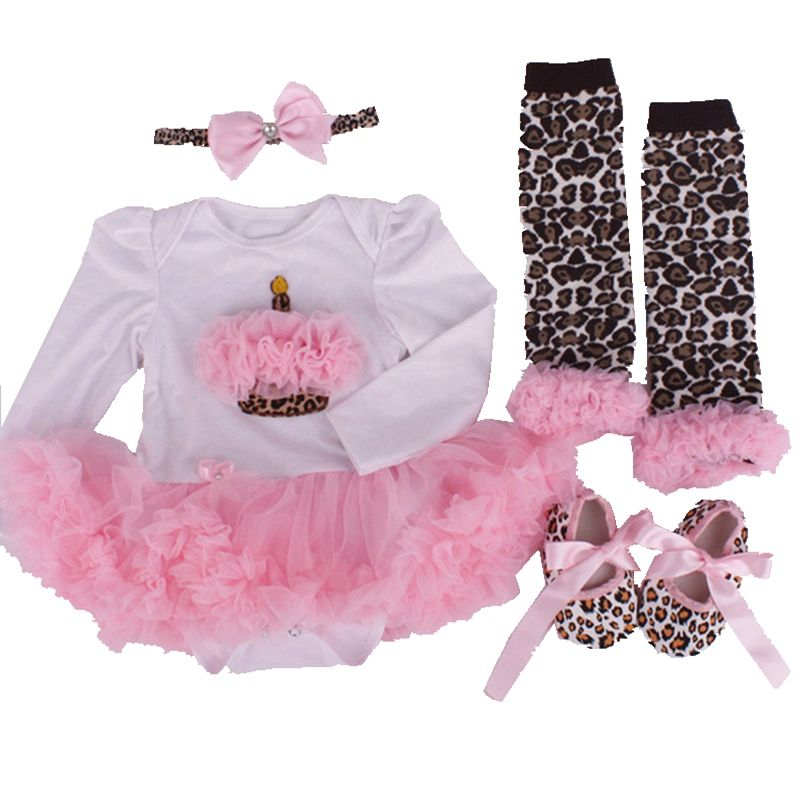 >> Click to Buy << Birthday Cake Newborn Tutu Sets Lace Romper Dress Warmers Crib Shoes Headband 4pcs Girls Birthday Outfits Baby Girl Clothing Set #Affiliate