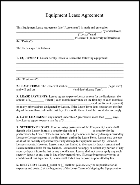 Sample Equipment Lease Agreement