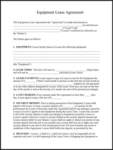 Equipment Lease Agreement Rental Agreement Templates
