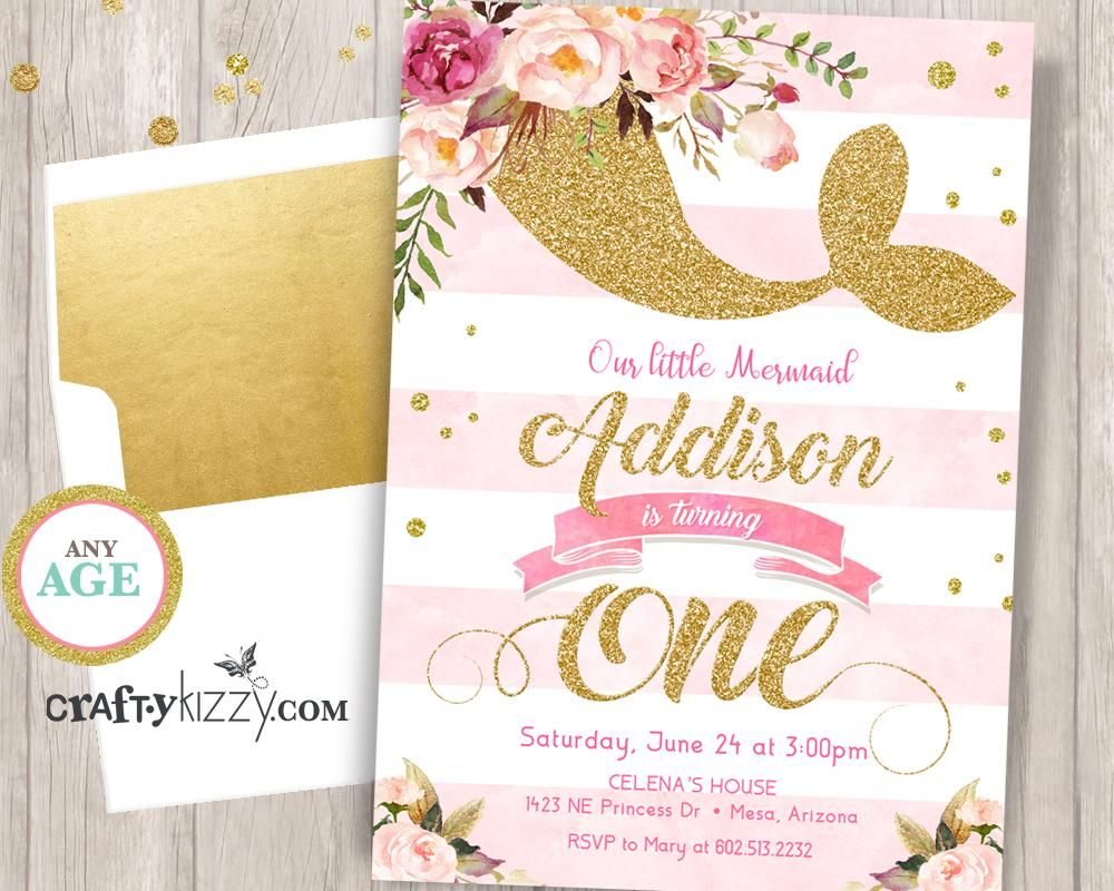 Mermaid First 1st Birthday Party Invitation - Watercolor Soft Pink ...