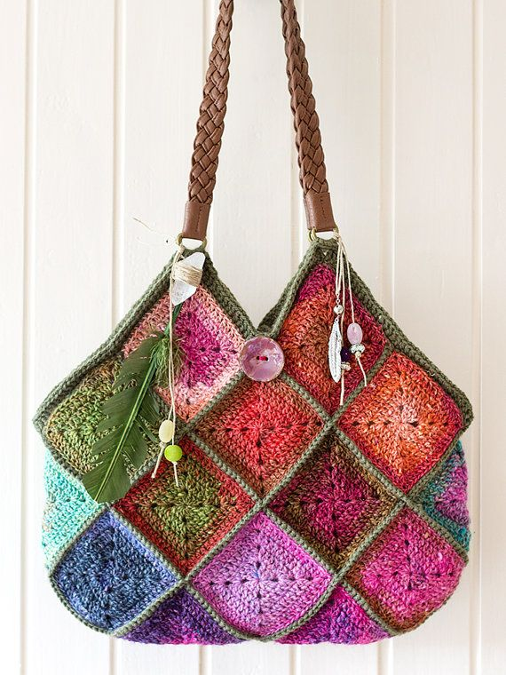 Noro crochet boho squares raw crystal feather charms bag