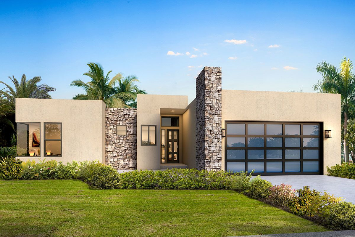 Plan 370002sen Contemporary One Level House Plan With Split Beds Modern Style House Plans One Level House Plans Flat Roof House