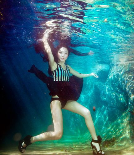 River Photo Shoot Ideas: Fashion Photography Woman Underwater