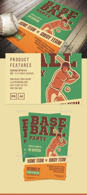 Illustrated Baseball Poster or Flyer Baseball posters, Ai - baseball flyer