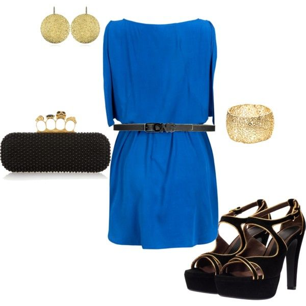 blue, black, gold, created by deangirl on Polyvore