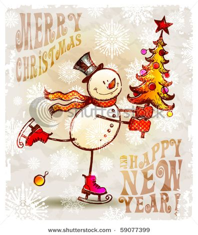 country clipart of snowmen | Cartoon Snowman with Christmas Tree ...