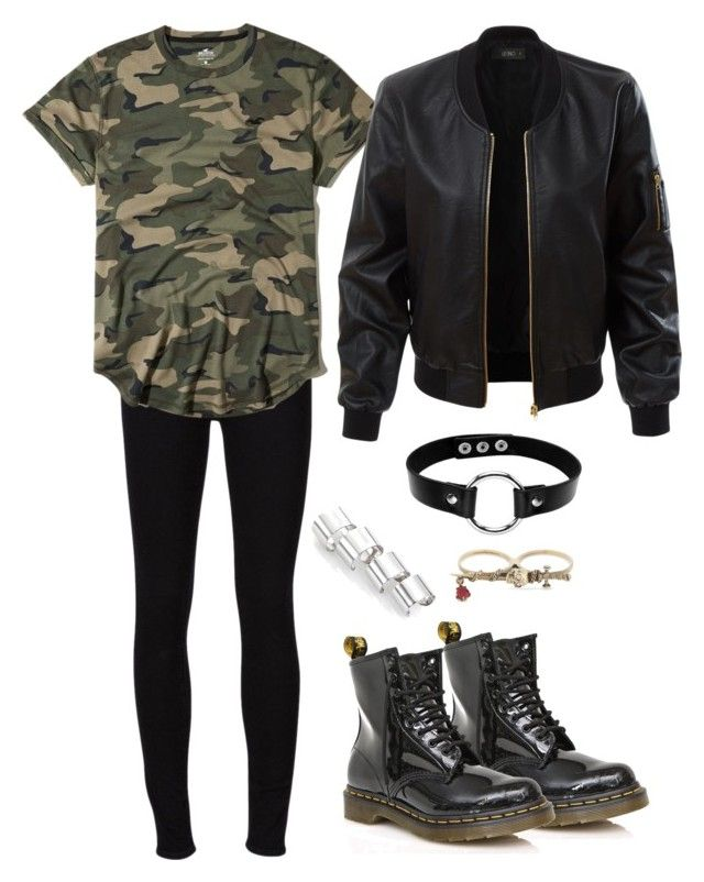 """""""Untitled #2554"""" by moxieremon on Polyvore featuring Dr. Martens, Frame, Hollister Co., LE3NO, Maison Margiela and Alexander McQueen"""