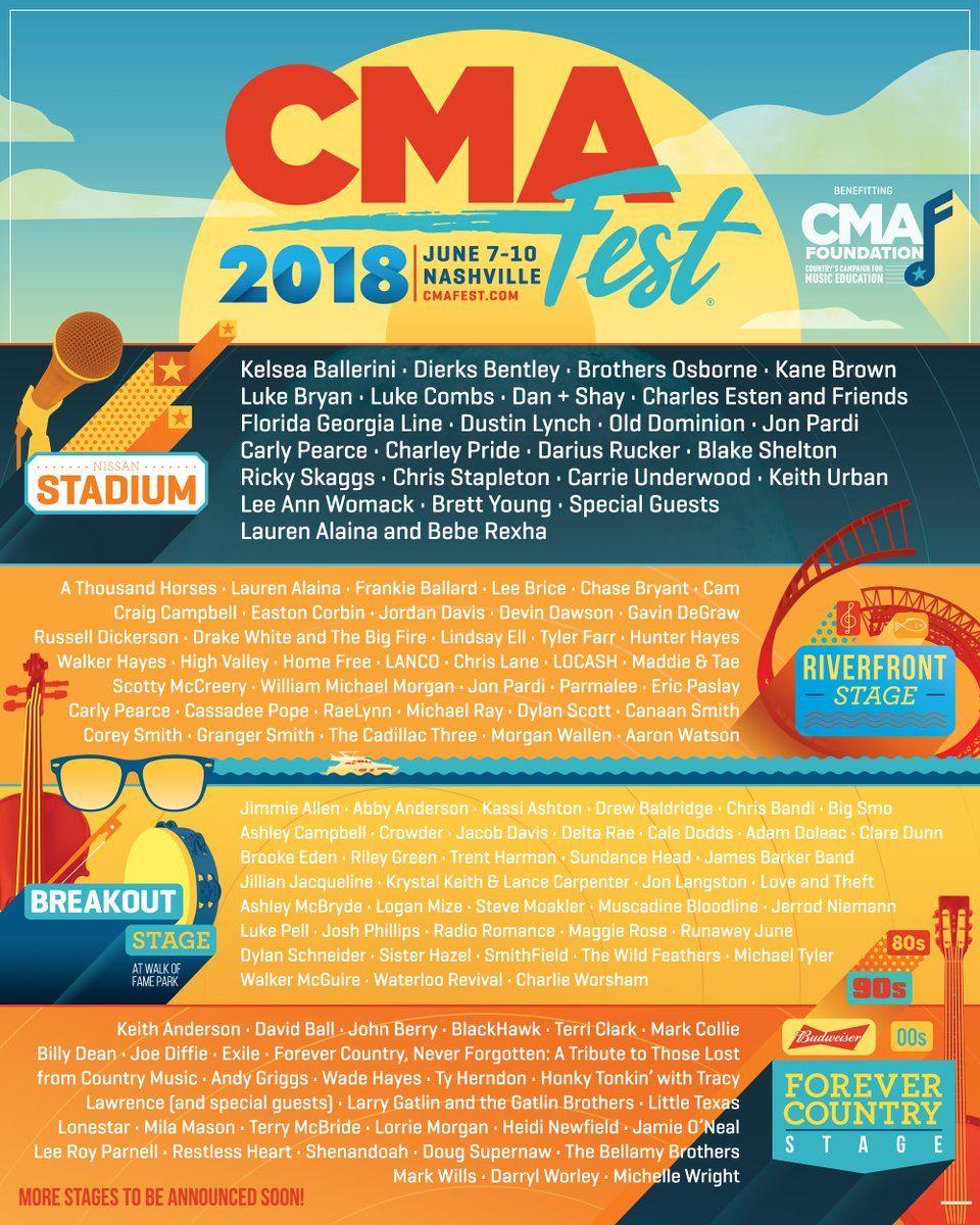 CMA Fest 2018 lineup | Festival Fun in 2019 | Cma music festival