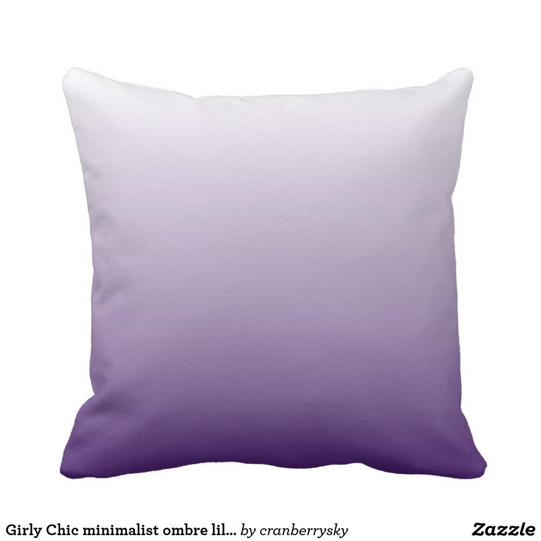 Girly Chic minimalist ombre lilac lavender purple Throw Pillow | Zazzle.com