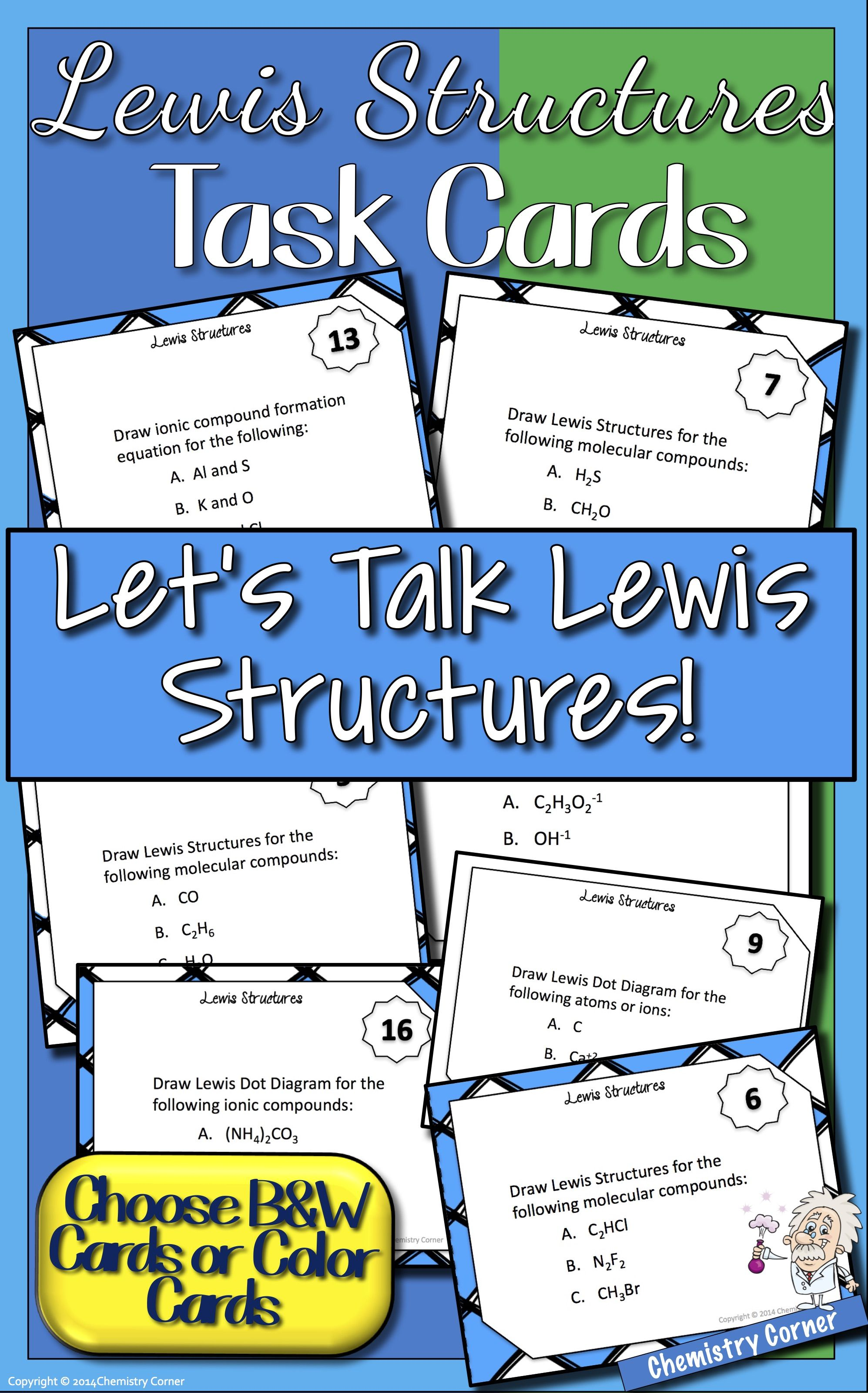Lewis Dot Structure Task Cards With Images