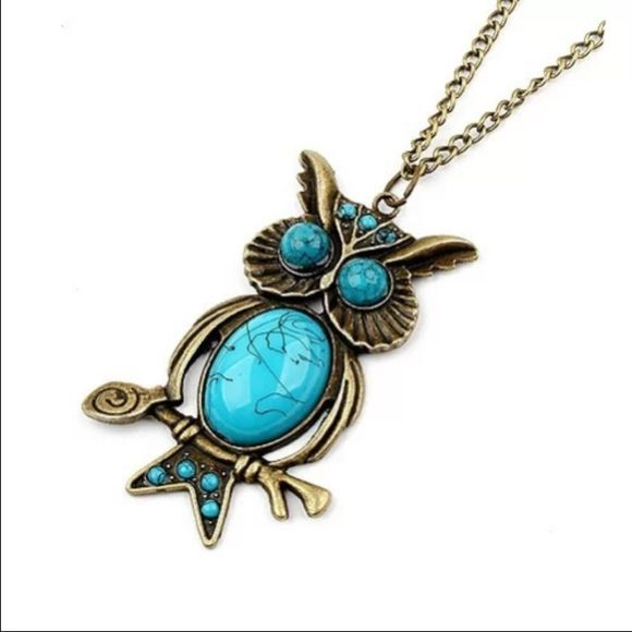Bronze & Turquoise owl necklace - available Buy with confidence- I'm a suggested user ❤️ over 300 listings sold  buy 2 jewelry listings get 1 free  Jewelry Necklaces
