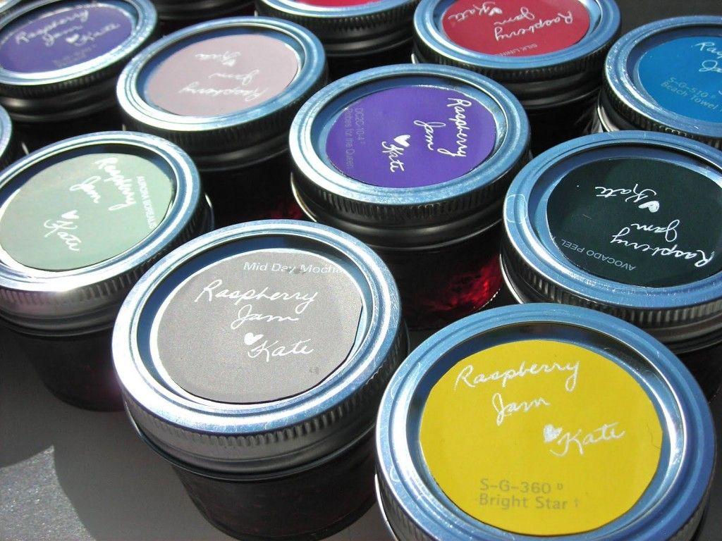 Diy jar labels paint chips paint swatch craft recycle