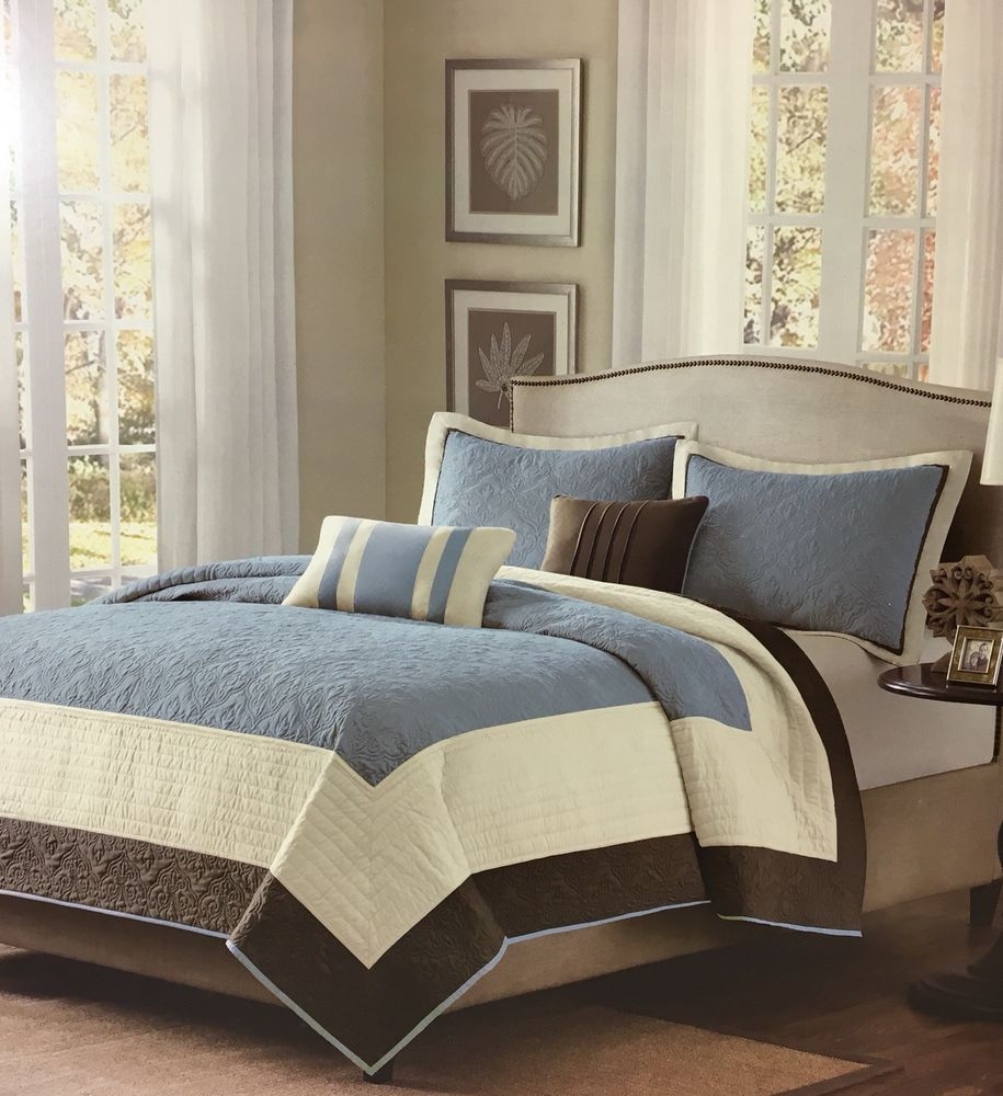 Madison Park Apartments California: Madison Park Estate Collection 3 Piece Queen Blue Quilted