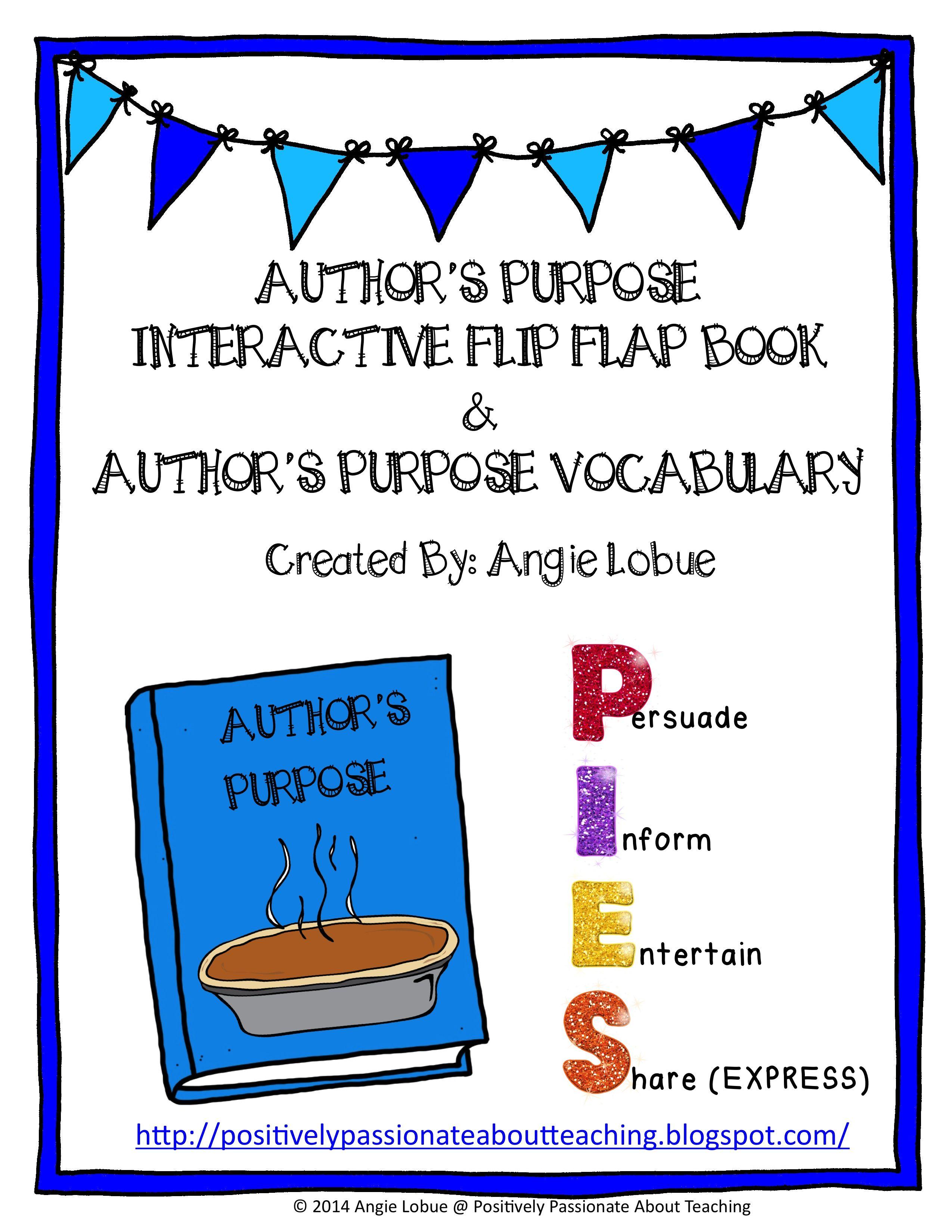 Interactive Authors Purpose Flip Book And Authors Purpose