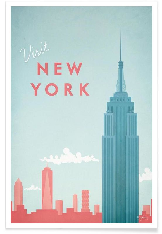 new york en affiche premium par henry rivers juniqe appart pinterest affiches voyages. Black Bedroom Furniture Sets. Home Design Ideas