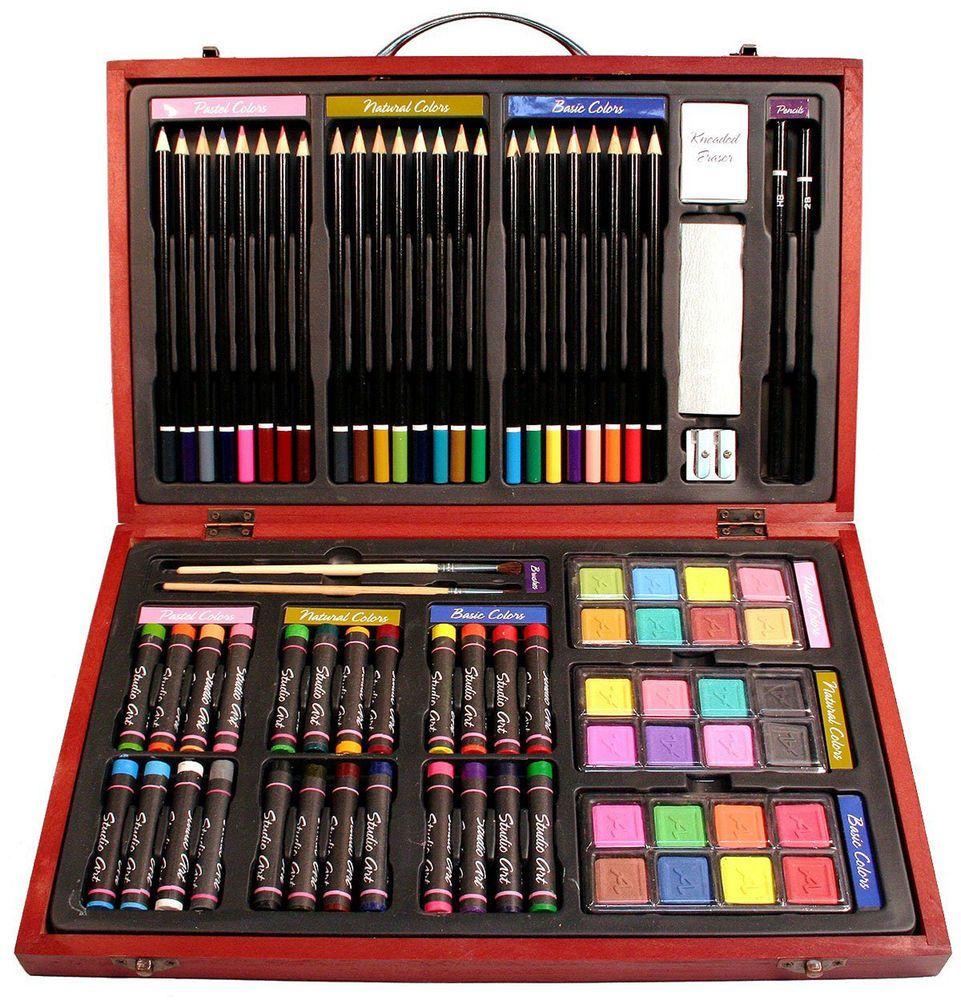 79 Piece Drawing Art Supplies Set Sketch Kit Pencils Painting