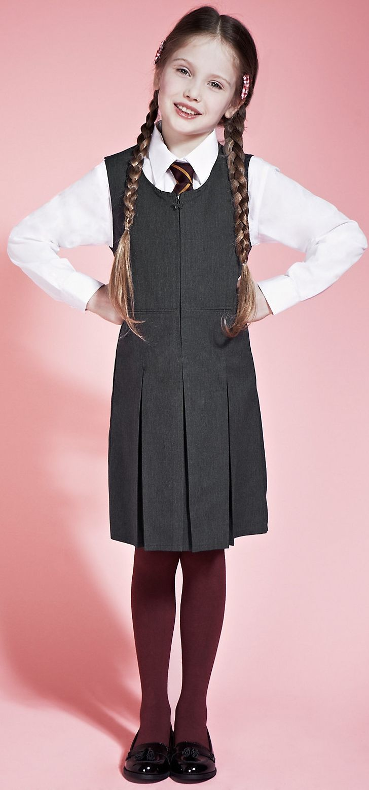 3f0e58a61 Girls' Longer Length Crease Resistant #Traditional_School_Pinafore with Permanent  Pleats