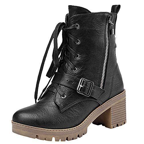 c01b9a02e4f2 DENER   Women Winter Mid Calf Boots with Block Heels