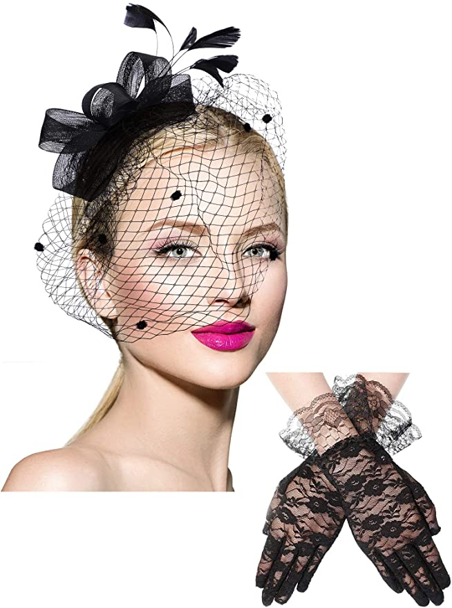 Bowknot Fascinator Hat Feathers Veil Mesh Headband And Short Lace Gloves Floral Lace Gloves Black At Amazon Women Mesh Headband Lace Gloves Black Lace Gloves