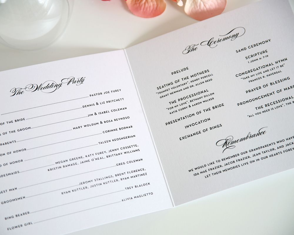 French Romance Wedding Programs  French Romance Ceremony